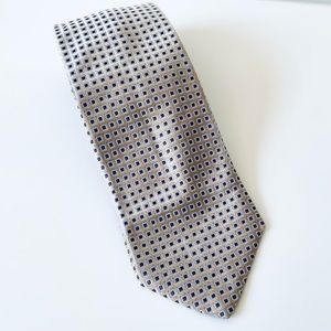 Hugo Boss silk tie tan brown blue 58 L x 3.75 W